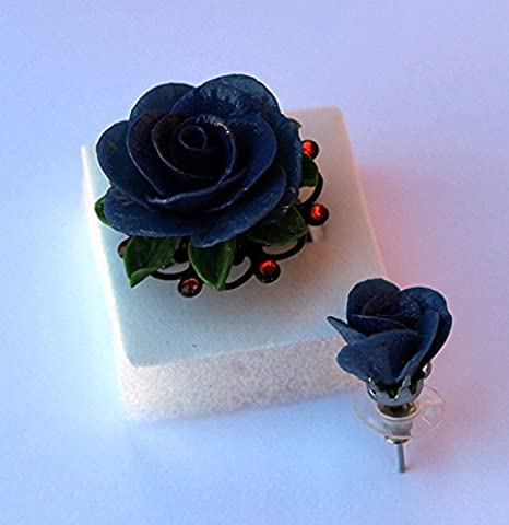 Adjustable Ring Blue Rose ~ AstraLuna Bijoux
