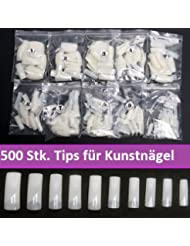 Katara - 500 capsules professionnelles universelles carrées Tips Faux Ongles pour les extensions des ongles en UV gel ou en acrylique Manicure Nail Art - de couleur naturelle - 10 tailles différentes