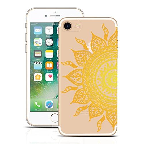 Yokata Cover per iPhone 7 (4.7 inch) Custodia per Apple iPhone 7 gel Silicone Case Durevole PC Backcover Protettiva Caso Premium Ultra Sottile Acrilico Protezione Shell + Cordino - Design Pattern in i Girasole