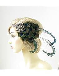 Silber Pfauenfeder Stirnband 1920er Great Gatsby Starcrossed Beauty grün 176Stil der Zwanzigerjahre