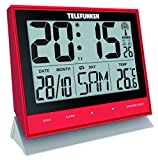 Telefunken Wecker Funkwecker Wanduhr lautlos digital XL groß kein Batterieverbrauch bei Nutzung mit USB Kabel Temperaturanzeige Kalender Sensor-Tasten auf der Vorderseite rot FUX-500 (R)