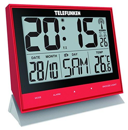 Telefunken FUX de 500(R) XXL de LCD de radio despertador/Reloj de pared digital, puerto USB para Ext. Alimentación, indicador de temperatura y calendario, sensor de botones en la frente a la Facilidad de uso (Rojo)
