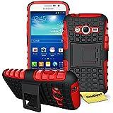 Samsung Galaxy Grand Neo Plus Funda, FoneExpert® Heavy Duty silicona híbrida con soporte Cáscara de Cubierta Protectora de Doble Capa Funda Caso para Samsung Galaxy Grand Neo Plus i9060 / Galaxy Grand Neo + Protector Pantalla (Rojo)