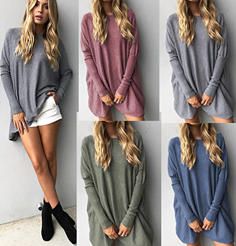 CoCo Fashion Damen Lose Bluse Fledermaus Langarm Pullover Normallacks Shirt Casual Oberteil Übergröße Stil 2_Grau