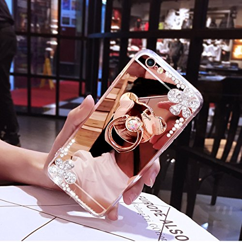 iPhone 7/8 Miroir Case,iPhone 7/8 Coque pour Fille,Hpory élégant Luxe Miroir Hard PC Bouteille de Parfum Motif Ring Stand Holder Bling Brillant Shiny Glitter Crystal Rhinestone Diamant Coque pour Femm Mirror Ours,Rosegold