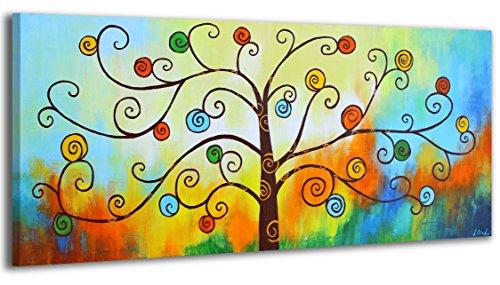 YS-Art Quadro Dipinto Con Colori Acrilici Albero Del Denaro | 115x50cm | Muro|Mano|Arte Moderna|Tela| Unico| Multicolore