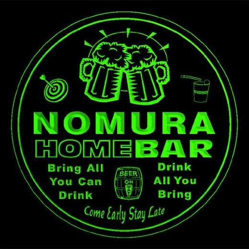 4x-ccq32696-g-nomura-family-name-home-bar-pub-beer-club-gift-3d-coasters