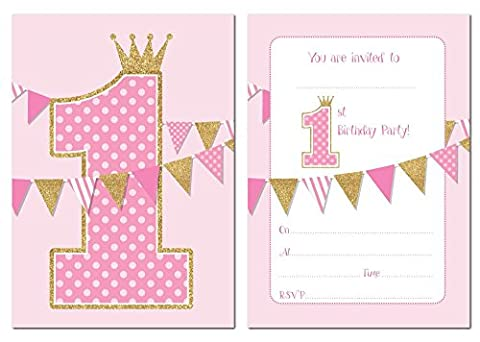 First Birthday Party Invitations - Pink with Gold Glitter Effect - 24 x A6 postcard size cards (With envelopes)