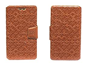 J Cover Vachetta Series Leather Pouch Flip Case With Silicon Holder For LG Optimus LTE LU6200 Light Brown