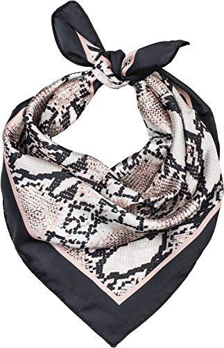 styleBREAKER Damen Dreieckstuch mit Schlangen Print, Multifunktion Tuch, Halstuch, Kopftuch, Bandana 01016173, Farbe:Schwarz-Rose