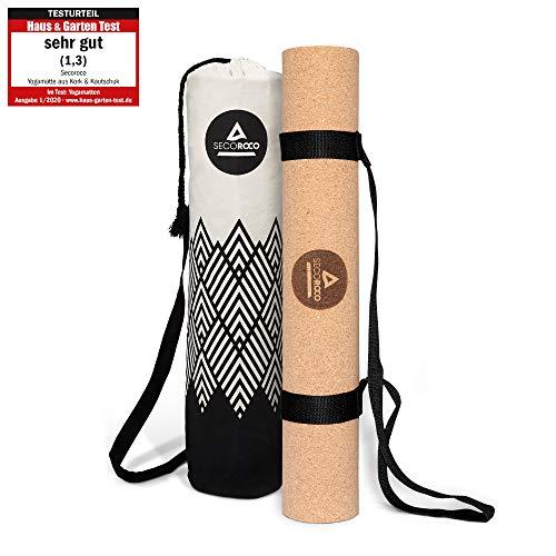 Secoroco Yogamatte Kork - rutschfest - 3mm Stärke - Vegan, nachhaltig und recycelbar - Yoga Matte aus Kork & Kautschuk inklusive Yogatasche aus Leinen