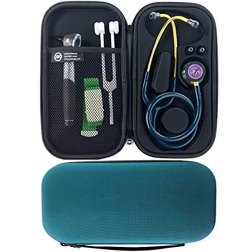 TANCUDER Stethoskop Tasche Stethoskop Hülle Taschen Hard Case für Stethoskop Hartschalentasche für 3M Littmann, MDF, ADC, Omron, etc. Netztasche für Zubehör Schützt Ihr Stethoskop Blaugrün