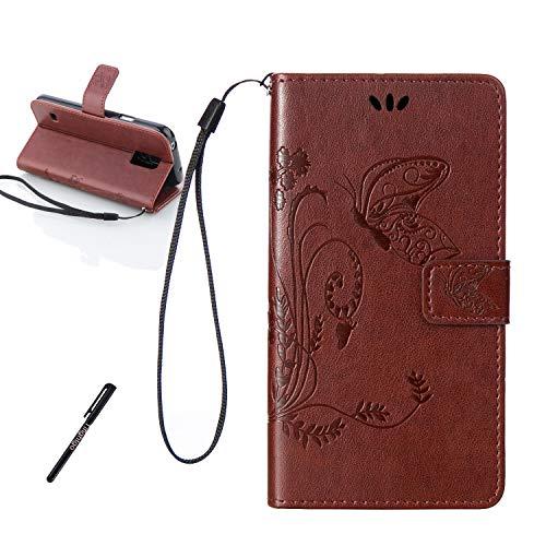 Tifightgo Samsung Galaxy S5 Mini Leder Hülle,Braun Schmetterling Blumen Prägung Ledertasche Kartenfach Standfunktion Leder Klapphülle Handyhülle Schutzhülle Flip Brieftasche für Samsung Galaxy S5 Mini