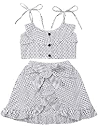 Toddler Kids Baby Girls Strap Ruffled Dot Tops + Irregular Skirts 2PC Outfits Clothing Sets 1Y-5Y