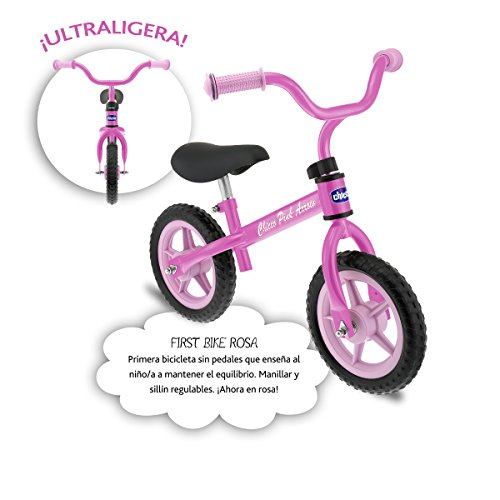 Chicco First Bike -  Bicicleta sin pedales con sillín regulable,  color rosa,  2- 5 años