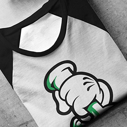 Disney Mickey Mouse Hands Bong Men's Baseball Long Sleeved T-Shirt White/Black