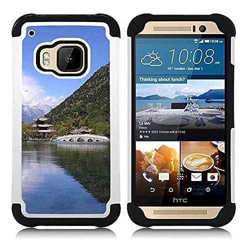 Hypernova Ibrido Heavy Duty Armatura antiurto Cover silicone cassa caso robusto Per HTC One M9 /M9s / One Hima [Tempio Natura asiatico]