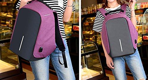Juuly zaino resistente all'acqua, in poliestere, 39,6cm con porta USB di ricarica, unisex., Black Purple