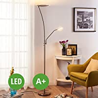 LED Floor Lamp Bastian (modern) in Silver made of Metal (2 lights, A+) from Lampenwelt   Standard Lamp, Uplighter