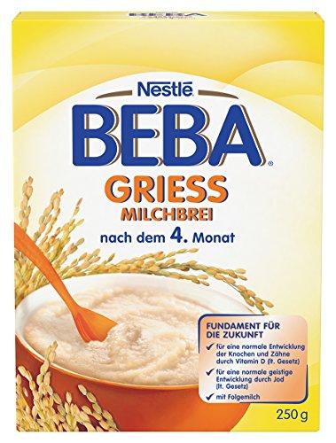 Nestlé BEBA Milchbrei Grieß, nach dem 4. Monat, 250 g Faltschachtel, 9er Pack (9 x 250 g)