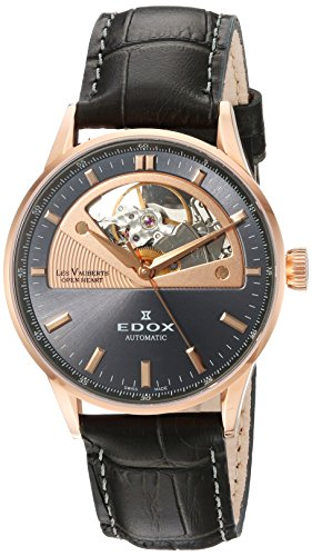 Edox Women's Les Vauberts 37mm Leather Band Automatic Watch 85019 37RG Gir