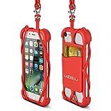 Teléfono Acollador Universal 4 '' a 6 '' Silicona Caso con Cuello Correa para iPhone 7/7 Plus/6/6 Plus/5/Samsung Note 4/5/LG/HTC/Huawei by ARMRA (Rojo)