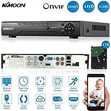 KKmoon 4 Canal AHD DVR/NVR/HVR Grabadora de Video Full 1080N/720P (HDMI P2P Onvif + 1TB Disco Duro, Android/iOS APP, Detección Movimiento, Alarma Email, PTZ para HD 2000TVL Cámara CCTV)