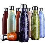 IRONLAND Isolierflasche Flasche Sport Wasserflasche Marmor Linien - 24 Stunden kalt und 12 heiß - BPA frei, 500ml