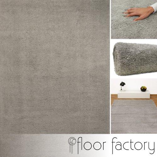 Weicher Hochflor Shaggy Teppich Privilege grau 120x170 cm - flauschiger Mikrofaser Langflorteppich