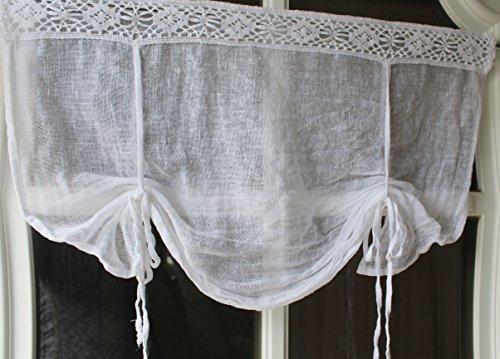 Gardine Scheibengardine Bistrogardine Landhaus Shabby Chic Vintage Vorhang Weiß (60 x 45 cm)