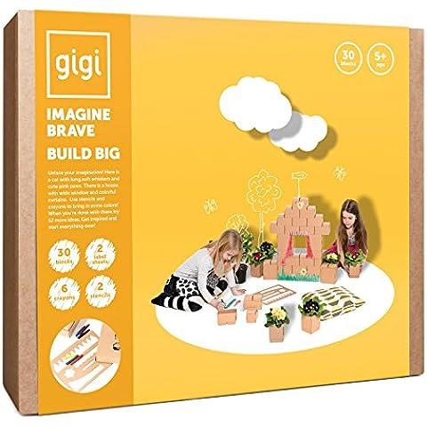 Grandes bloques de construcción, juguete creativo con 30 bloques XL, 2 plantillas, lápices de colores y 2 hojas de etiquetas – un regalo increíble para los