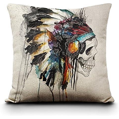 snowwer funda de almohada sofá funda decorativa pillows-american indio cabeza 45* 45cm