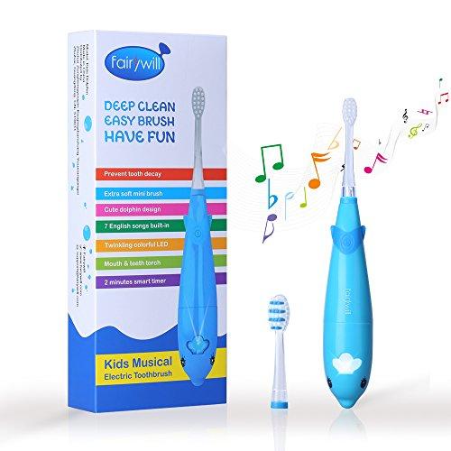 Elektrische Zahnbürste für Kinder Frisch vom Zahnarzt gefühl Super Niedlicher Delphinentwurf mit 7 Populäre Englische Lieder 2 AAA Batterien hält Min 60 Tage Wasserdicht von Fairywill (Extra Weiche Zahnbürste Für Kinder)