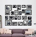 Ray & Chow Set di Solide Cornici in Legno per Foto - Set di 23 Cornici - Passepartout per Foto Inclusi - Larghezza della Cornice 2cm! - Nero