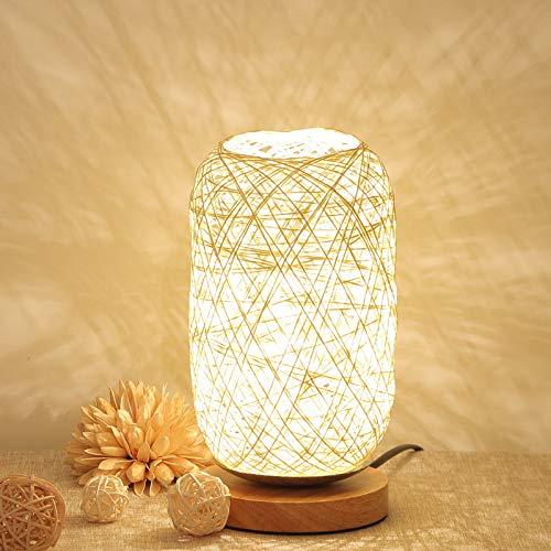 Schlafzimmer nacht dekoration dimmbare led nachtlicht massivholz schnur rattan tischlampe leinen ball kleine tischlampe beige dimmer (stecker, ohne lampe)