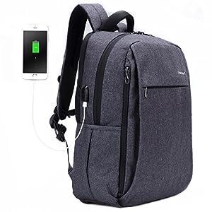 516HUD%2ByRyL. SS300  - Fubevod Mochila de Ordenador portátil de negocios con cargador USB impermeable Bolsa de colegio negro