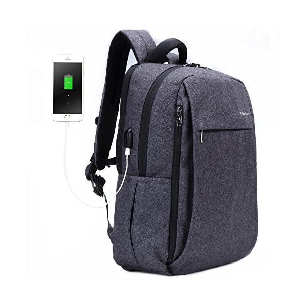 516HUD%2ByRyL. SS600  - Fubevod Mochila de Ordenador portátil de negocios con cargador USB impermeable Bolsa de colegio negro