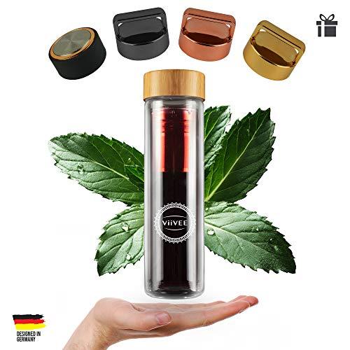 Viivee Life Eisteeflasche 2-Go 500ml Glas-Trinkflasche Doppelwandig mit Einsatz-Sieb 100% BPA Frei für Tee | Kaffee | Smoothie (Tee-flasche)