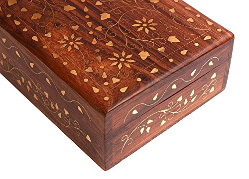 Hand Crafted Wooden Decorative Trinket Jewelry Box Organiser with Mughal Inspired Floral Carvings & Brass Inlay-Centre Flower