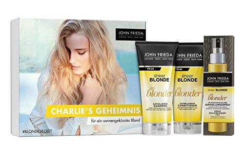 John Frieda Sheer Blonde Go Blonder - Secret Blogger Box Charlie 450 ml - Inklusive 1 Gratisartikel - Inhalt: Shampoo (175 ml), Conditioner (175 ml) und gratis Spray (100 ml) (John Glanz Frieda)