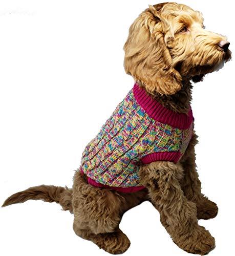 Funky Junque C.C Hundepullover, warm, für den Winter, Stretch, Strick, M, 4 Tone Mix - Yellow, Hot Pink, Turquoise, Pink -