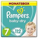 Pampers Baby-Dry Windeln Größe7 (15+ kg), Luftkanäle für atmungsaktive Trockenheit die ganze Nacht, Monatsbox, 1er Pack (1 x 112 Stück)