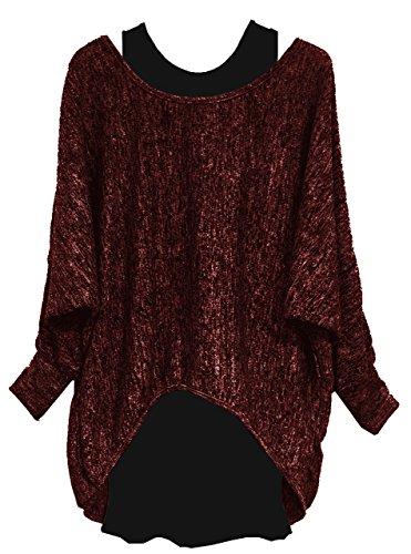 Emma & Giovanni Damen Langarmshirt/Pullover (2 Stück) (M/L, Bordeaux) (Tunika Pullover Damen)