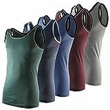 Lavazio 4er   8er   12er Pack Unterhemden für Herren in Feinripp und Doppelripp Qualität, Größe:7 / XL, Farbe:4er Pack Fein Melange 5 farbig