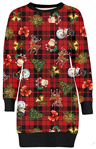 Frauen Christmas Reindeer Printed lange Sleeve weihnachten Sweatshirt Pullover Kleid 36-50 (40-42, Red Tartan Reindeer) (Red Pullover Kleid)