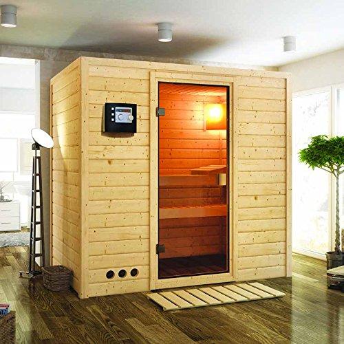 Karibu Sauna Samira mit Dachkranz (Fronteinstieg) - für niedrige Räume