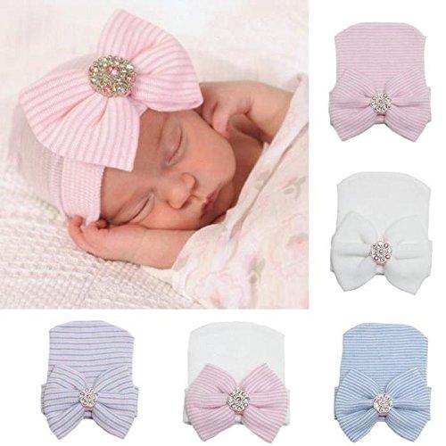 JuShen Cute Strass Schleife Newborn Baby Hat Cap