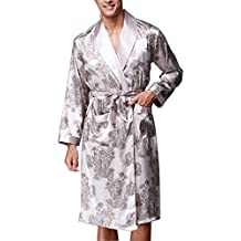 BOYANN Batas y Kimonos para Hombre Ropa de Dormir de Satén Albornoces Largos