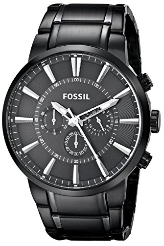 Fossil Herren-Armbanduhr Decker Analog Quarz One Size, schwarz, schwarz