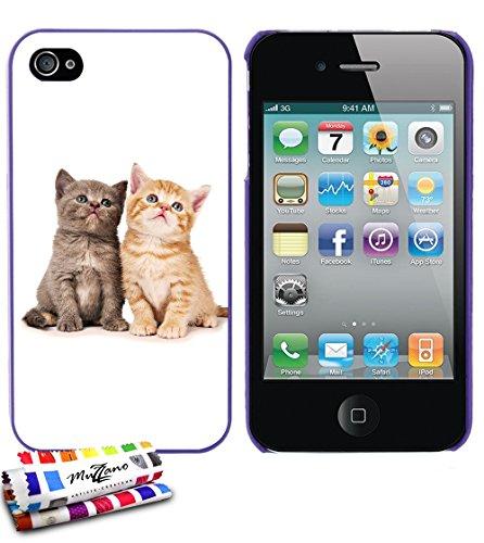 Ultraflache weiche Schutzhülle APPLE IPHONE 4 / IPHONE 4S [Katze] [Lila] von MUZZANO + STIFT und MICROFASERTUCH MUZZANO® GRATIS - Das ULTIMATIVE, ELEGANTE UND LANGLEBIGE Schutz-Case für Ihr APPLE IPHO Lila